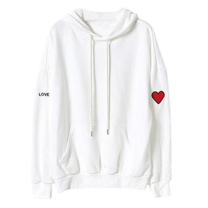Women Pullover Heart Letter Love Oversized Hoodie Sweatshirts