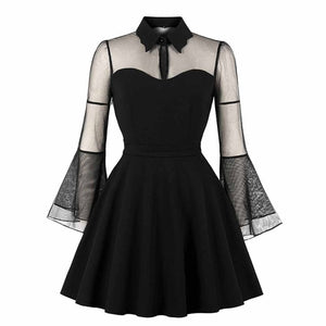 Women Gothic Sexy Mini Dress Autumn Black Mesh Patchwork See-Through Flare Sleeve Draped Elegant Plus Size Party Short Dresses
