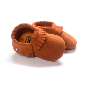 2019 PU Suede Leather Newborn Baby Moccasins Soft Shoes Soft Soled Non-slip Crib First Walker