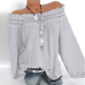 Women Casual Daily Lace Stitching Solid Salsh Neck Long Sleeve Shirt Tops Blouse