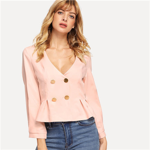 SHEIN Pink Elegant Office Lady Double Button Pleated Ruffle V neck Solid Blazer 2018 Autumn Highstreet Women Coat And Outerwear