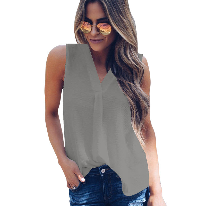 New Fashion Women Sleeveless Chiffon Shirt Blouse Solid Color V Neck Casual Loose Summer Tank Top Vest