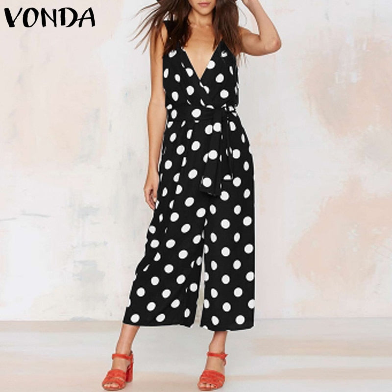 Hot 2018 Summer Sexy V Neck Sleeveless Backless Dot Printed Jumpsuit Trousers Women Wide Leg Pants Bohemian Casual Overalls
