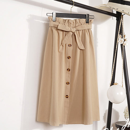 Gogoyouth Summer Autumn Skirts Womens 2018 Midi Knee Length Korean Elegant Button High Waist Skirt Female Pleated School Skirt
