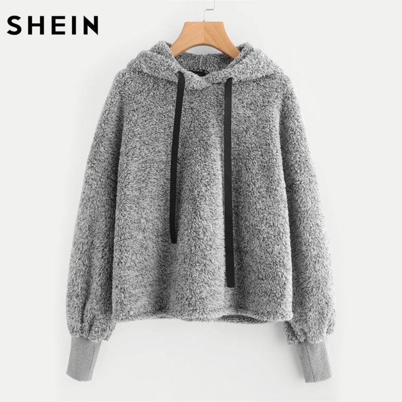 SHEIN Faux Fur Fluffy Hoodie Autumn Winter Casual Women Sweatshirts Grey Long Sleeve Womens Minimalist Drawstring Pullovers