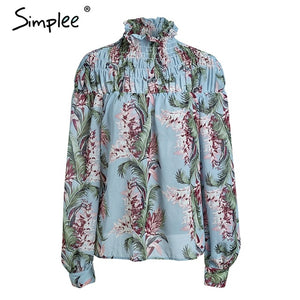 Simplee Floral print turtleneck lantern sleeve blouse shirt women Casual ruffles chiffon blouse Elegant summer blouse fashion