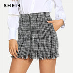 SHEIN Black and White Plaid Zip Front Frayed Tweed Skirt Elegant Fringe Pocket Mid Waist Pencil Skirts Women Autumn Mini Skirts
