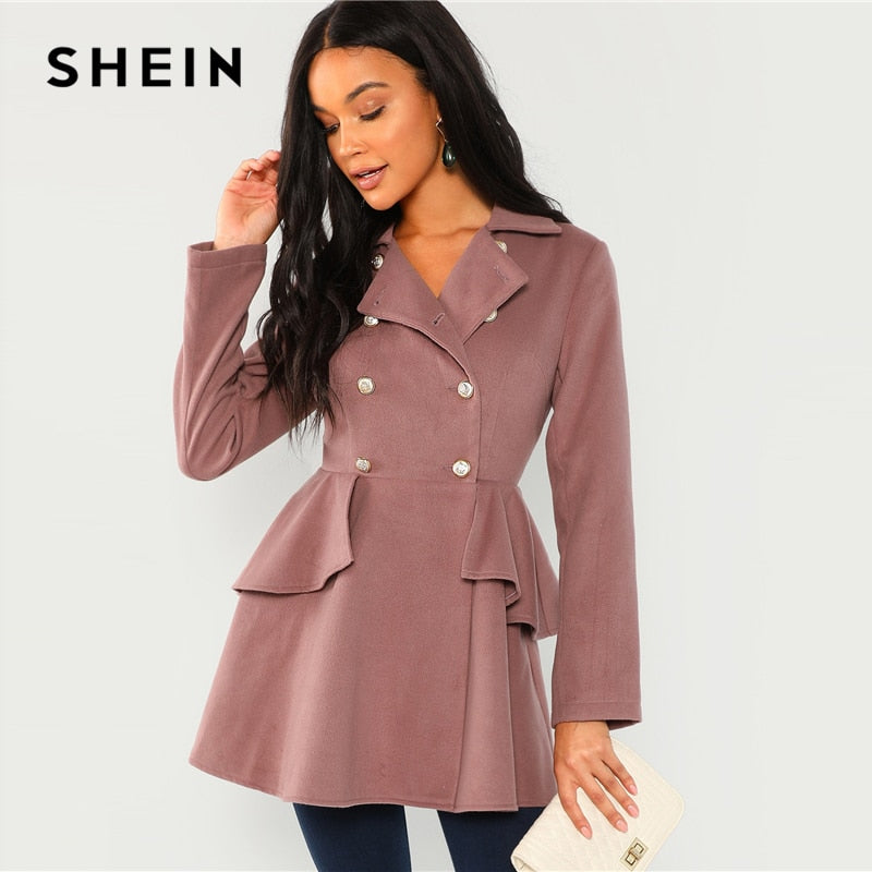 SHEIN Pink Double Breasted Collar Neck Solid Coat 2018 Autumn Elegant Longline Flared Outerwear Modern Lady Coats