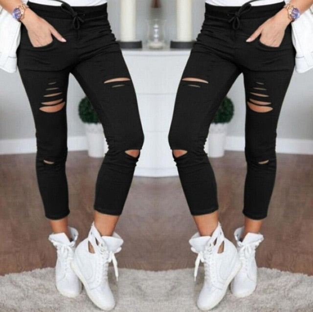 New 2018 Skinny Jeans Women Denim Pants Holes Destroyed Knee Pencil Pants Casual Trousers Black White Stretch Ripped Jeans