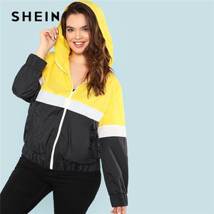 SHEIN Colorblock Streetwear Zipper Closure Plus Size Womens Hooded Jacket 2018 New Autumn Cut And Sew Sports Hoodie Coats