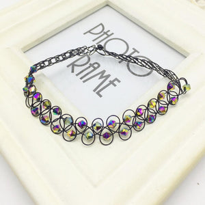 New Rainbow Beads Tattoo Choker Elastic Necklace Pendant