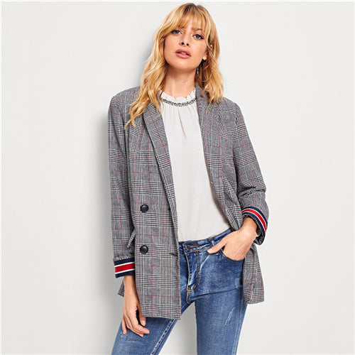 SHEIN Grey Contrast Striped Tape Plaid Blazer Office Lady Longline Notched Long Sleeve Coat Women Autumn Elegant Outerwear