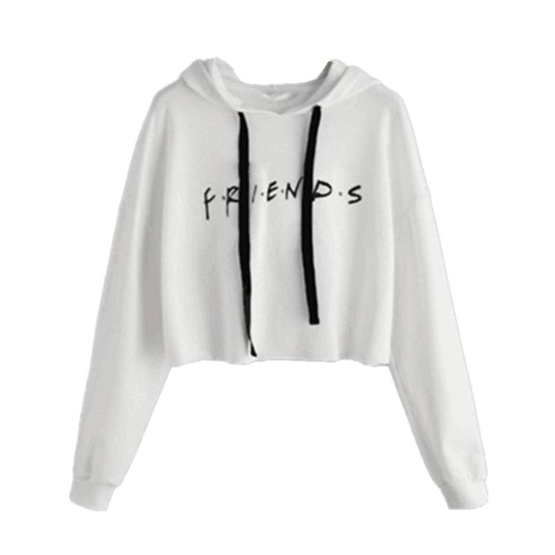 Letter Print Drawstring Loose Cropped Hoodie Women Casual Long sleeved Pullovers Hoodies Femme Female Crop Tops