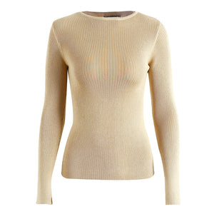 Simplee White knitted pullover sweater women Sexy elastic long sleeve knitting pullover Casual autumn winter jumper pullover
