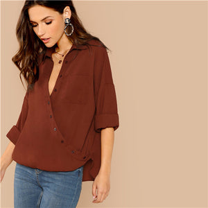 SHEIN Rust Modern Lady Elegant Pocket Patched Surplice Wrap Top 2018 Women Autumn Solid Weekend Casual Minimalist Blouses