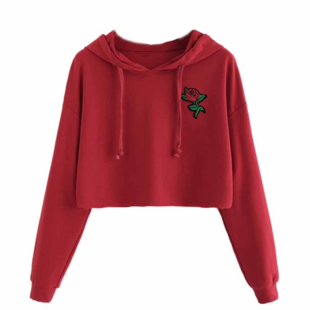 Women Hoodie Sweatshirt Jumper Sweater Crop Top Embroidery  Pullover Tops