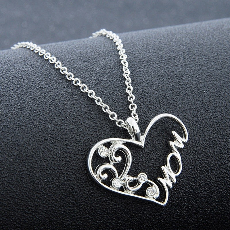 Fashion Charm Mother's Day Gift for Mom Friend Silver Diamond Plated Heart Necklace Pendant