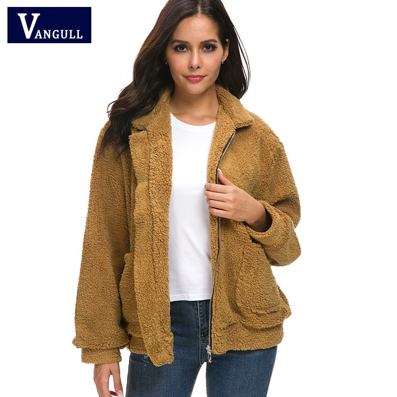 Vangull Faux Fur Warm Winter Coat Plus Size S-2XL Women Fashion Fluffy Shaggy Cardigan Bomber Jacket Lady Coats Zipper Outwear