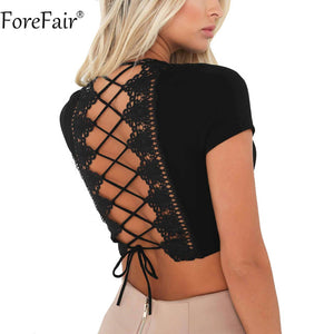 ForeFair Sexy Cross Lace Up T Shirt Women Summer Backless Crop Top Plus Size Female Autumn 2018 V Neck Pink Tops