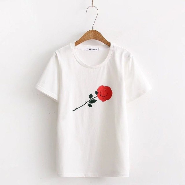 Summer T Shirt Women Casual Short Sleeves T-Shirt Top O-Neck Female Tshirt students' loose fitting