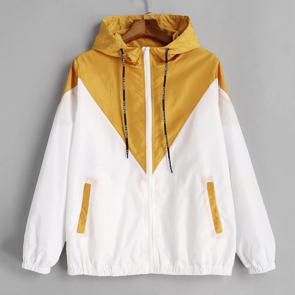 Color Casual Hoodie Sleeve Autumn Contrast Women Long Patchwork Hooded Jacket Zippers Pockets Spring Outwear Loose