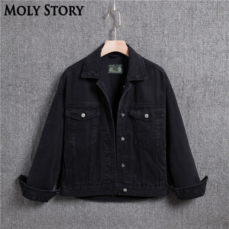 Streetwear Boyfriend Denim Jacket 4XL Plus Size Outwear Long Sleeve Black Oversized Jean Jackets Women Basic Coats Veste en jean