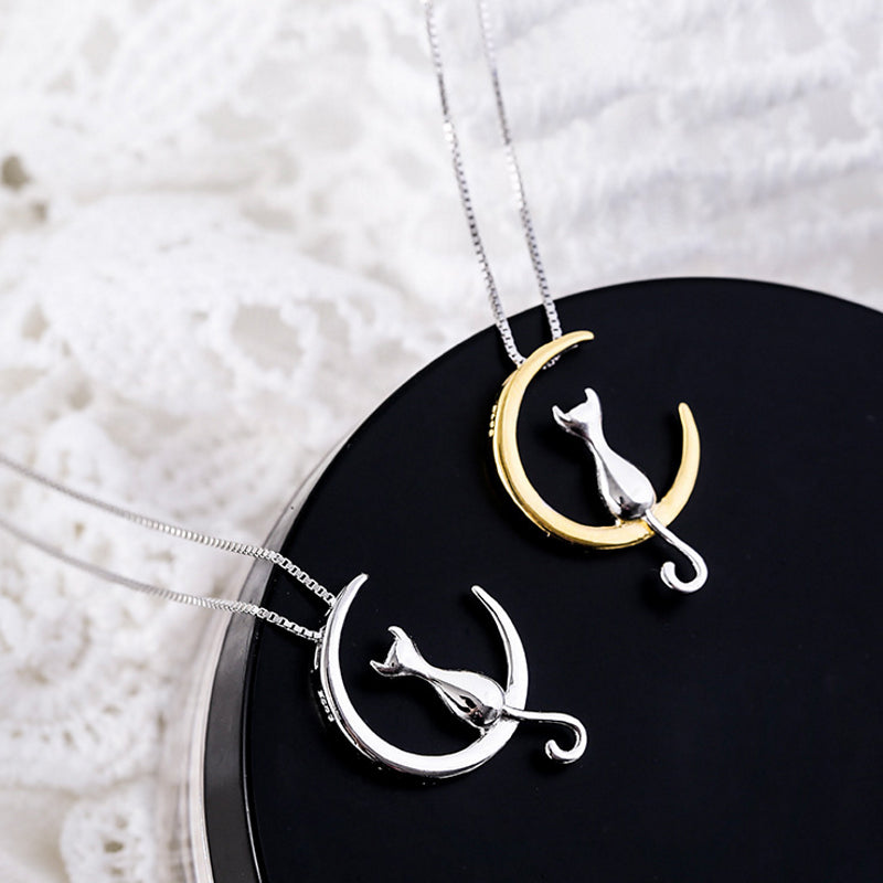 Moon Cat Vintage  Necklace