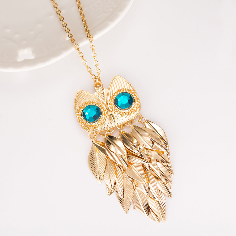 Gold Feathers Owl Necklace