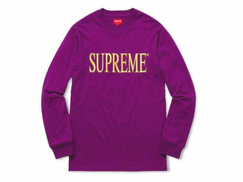 bccd79b75be0 2016 Fall/Winter Supreme Gold Logo Long Sleeve Tee Purple