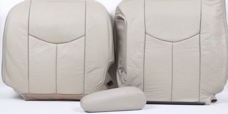 2003 To2007 Chevy Tahoe Suburban Driver Top+Driver+Armrest Seat Cover Tan Vinyl - Auto Seat Replacement