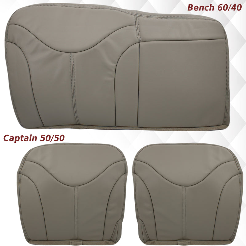 2000-2002 GMC Yukon XL Rear Back Captain Seat 50/50 or Bench Seat 60/40 Bottom Seat Cover Tan