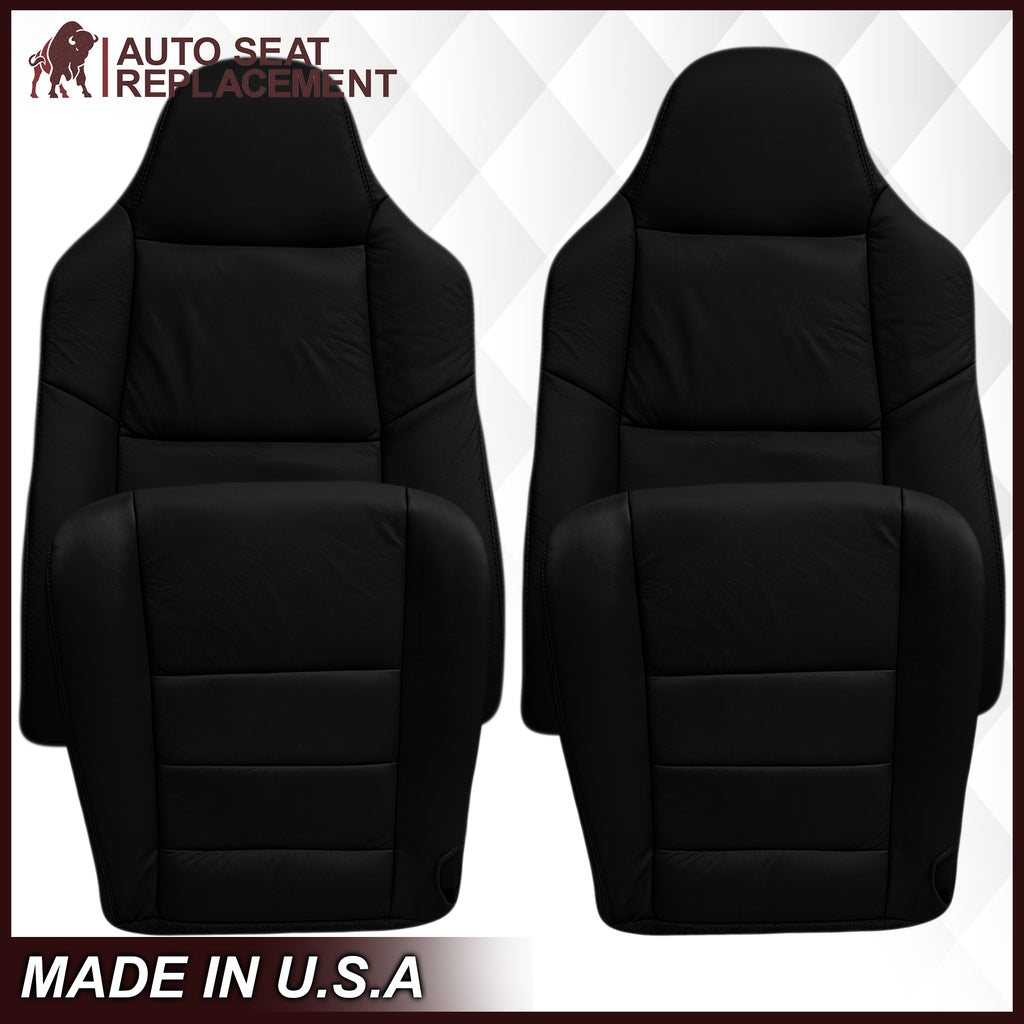 2002-2007 Ford F250/F350/F450/F550 Lariat Seat Cover in Black: Choose Leather or Vinyl