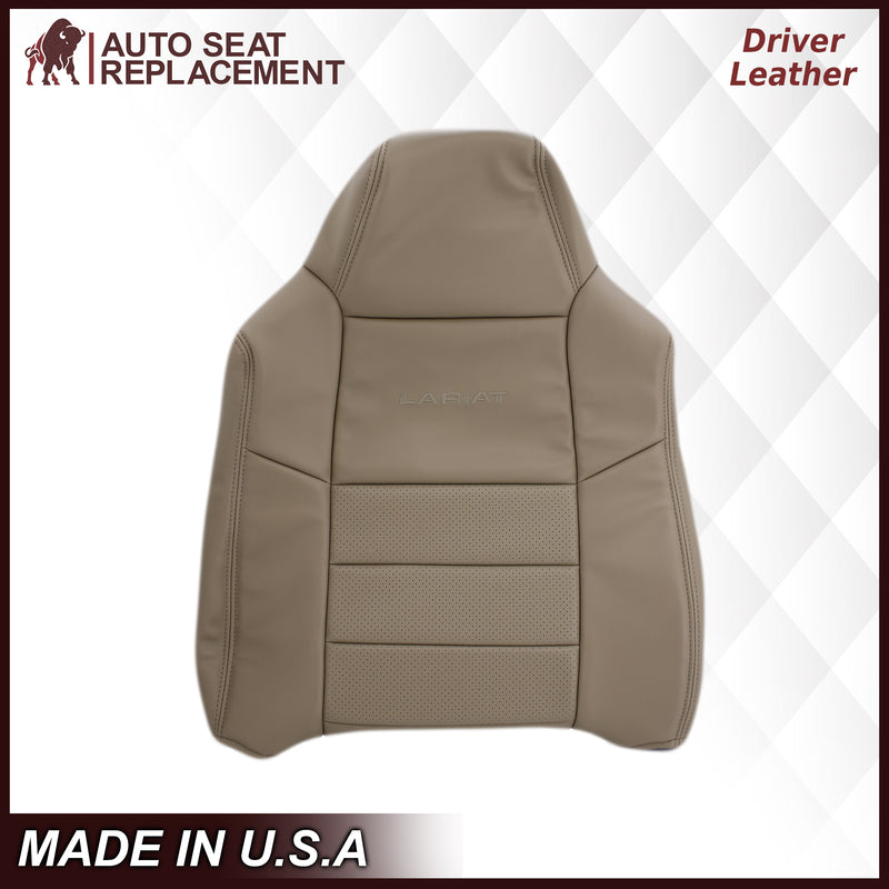 2002-2003 Ford F250 F350 Lariat Perforated Seat Cover in Tan: Choose Leather or Vinyl