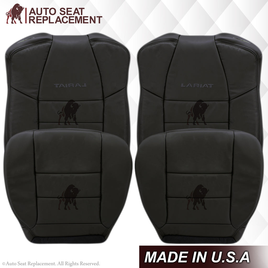 2002-2007 Ford F250/F350/F450/F550 Lariat Extended Cab Seat Cover in Black: Choose Leather or Vinyl
