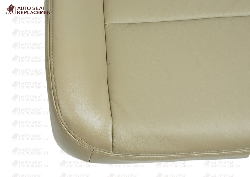 2002 To 2007 Ford F250 F350 Lariat Driver and passenger Bottom Leather Seat Cover TAN close up