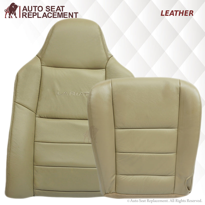2002-2007 Ford F250 F350 Lariat Leather or Vinyl Seat Cover: Driver & Passenger, Bottom/Top/Lean Back, Tan