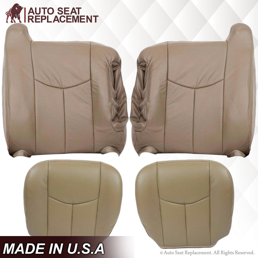 2003 2004 2005 2006 2007 GMC Sierra Leather Top Bottom Driver Passenger Seat Cover Replacement Tan 522 Autoseatreplacement