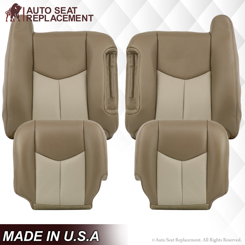 2003 2004 2005 2006 GMC Yukon Denali Bottom Top Leather Seat Cover replacement 2 Tone Tan 522