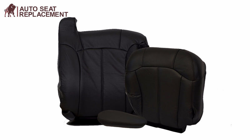 99 to 2002 Chevy Silverado full Driver package Leather Seat Cover Dark Graphite - Auto Seat Replacement