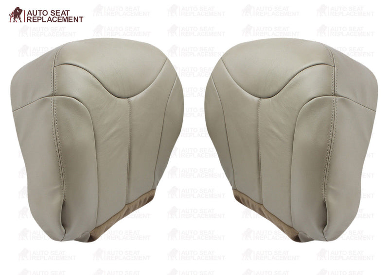2000 2001 2002 GMC Yukon XL Driver and Passenger Bottom Leather Seat Cover Tan - Auto Seat Replacement