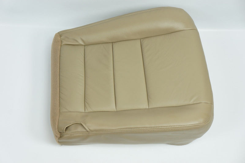2002 - 2007 Ford F250 F350 Lariat Driver Bottom Leather Seat Cover Parchment TAN - Auto Seat Replacement