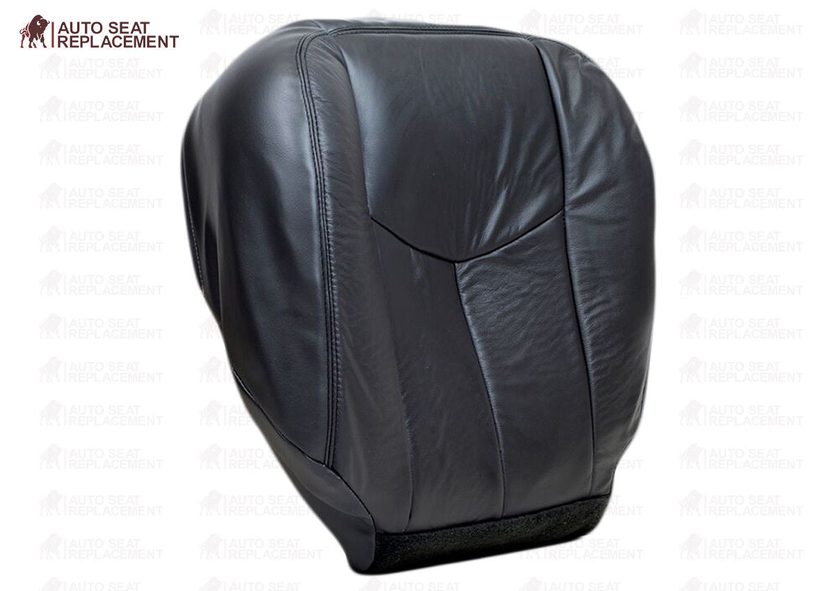 Driver Bottom Leather Replacement Seat Cover Dark Gray Compatible with 2005 GMC Sierra 3500 SLT SLE Single-Cab, Quad-Cab, Crew-Cab