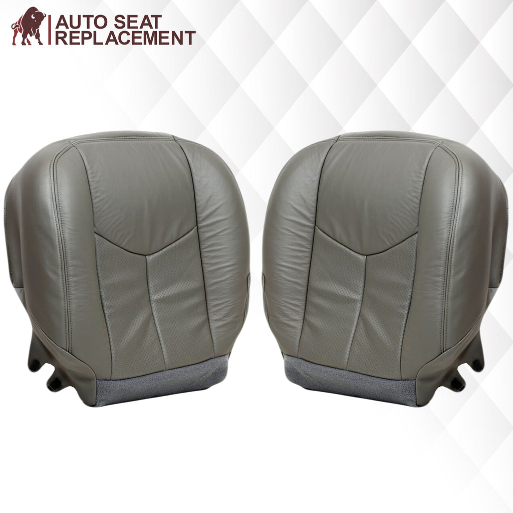 2003 2004 2005 2006 cadillac escalade driver and passenger bottom leather seat cover replacement in pewter gray Auto Seat Replacement