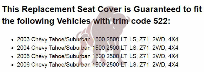 2003-2006 Chevy Tahoe/Suburban Seat Cover in Light Tan: Choose From Variation