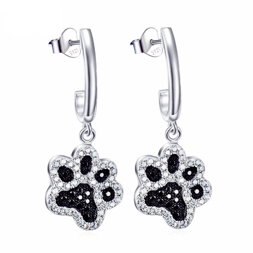 Paw Print Earrings - Sterling Silver with Black Crystal Stones xwhV9