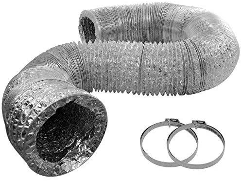 4 Inch Flex Duct 25ft Long Includes 2 Worm Gear Clamps for HVAC, Grow Room, and Greenhouse Ventilation