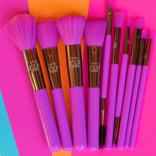 Neon Purple Full Face Brush Set