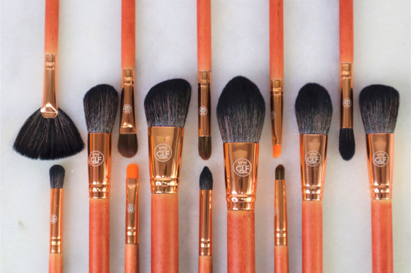 Orange Wooden Makeup Brush Set (14pcs)