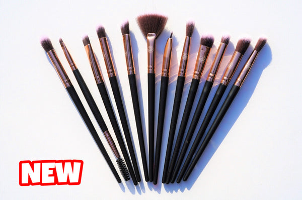 Black Rose Gold Brushes (12 Pcs)