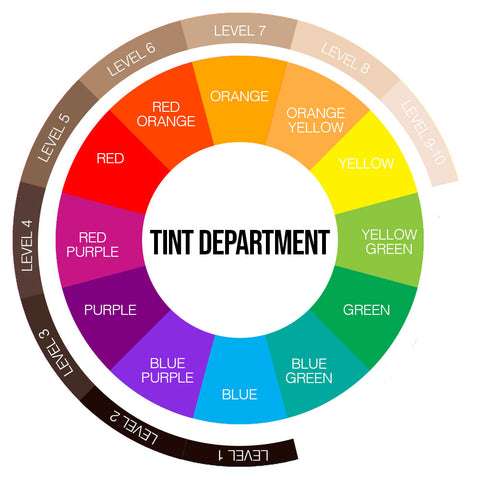 Tint Department Colour Wheel and Levels To Remove Brassiness From Hair